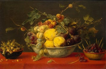 Fruit in a Bowl on a Red Cloth 1640 | Snyders-Frans | oil painting