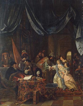 Esther before Ahasuerus Late 1660s | Steen Jan | oil painting