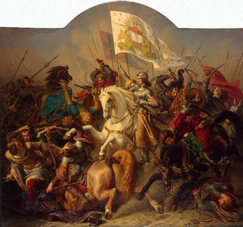 Joan of Arc in Battle (Central Part of-The Life of Joan of Arc-Triptych) 1843 | Stilke Hermann Anton | oil painting