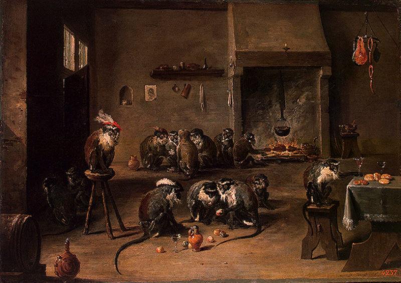 Monkeys in the Kitchen Mid-1640s   Teniers David II   oil painting