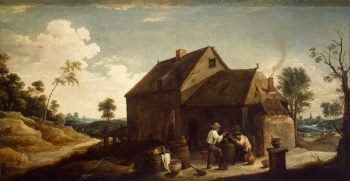 Landscape with Peasants before an Inn Second half of the 1630s   Teniers David II   oil painting
