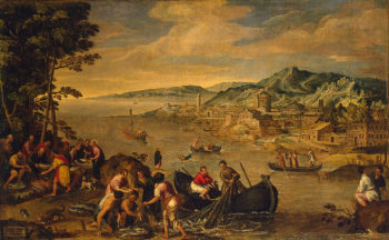 Miraculous Fishing Late 1580s | Toeput Lodewyk (Il Pozzoserrato) | oil painting