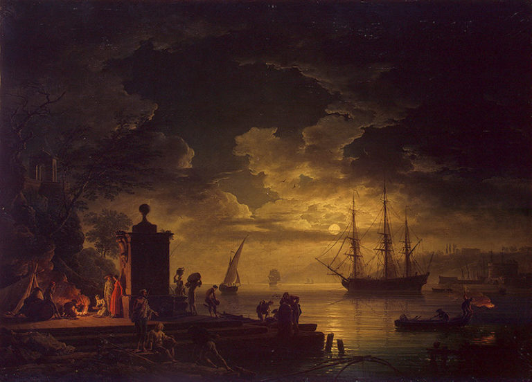 Moonlit Scene in the Environs of Citta Nuova in Illyria 1761 | Vernet Claude Joseph | oil painting