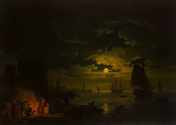 Entrance to the Port of Palermo in the Moonlight 1769 | Vernet Claude Joseph | oil painting