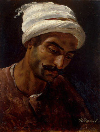 Head of an Arab 1819 | Vernet Horace | oil painting