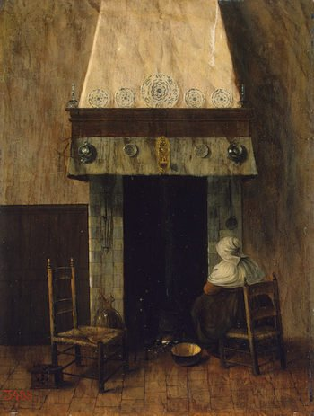 An Old Woman by a Fireplace 1650-1660s | Vrel Jacobus | oil painting