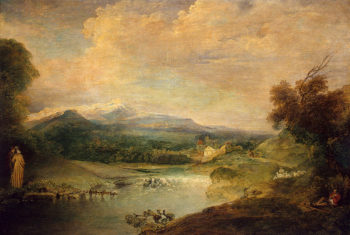 Landscape with a Waterfall 1714 | Watteau Antoine | oil painting