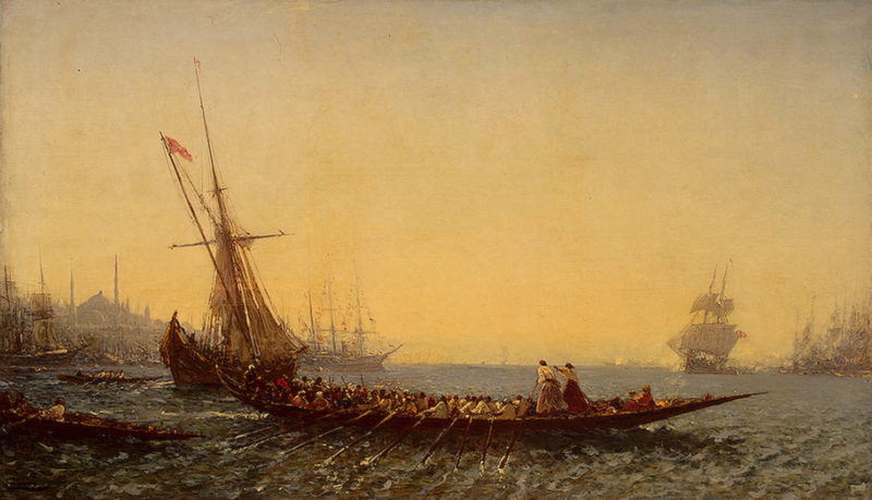Harbour at Constantinople 1880s   Ziem Felix Francois Georges Philibert   oil painting