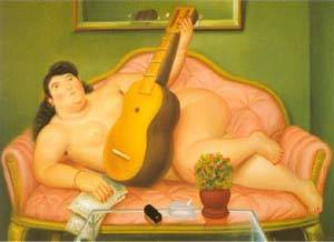 Woman With Guitar 1988 | Fernando Botero | oil painting