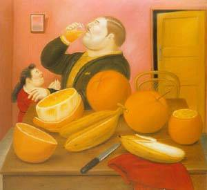 Man Drinking Orange Juice 1987 | Fernando Botero | oil painting