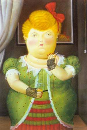 Woman With A Red Bow 1990 | Fernando Botero | oil painting