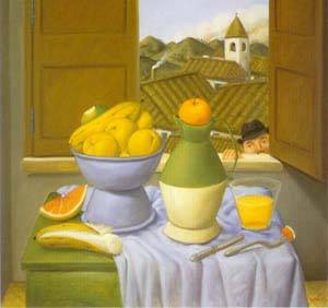 Still Life In Front Of The Window 1996 | Fernando Botero | oil painting