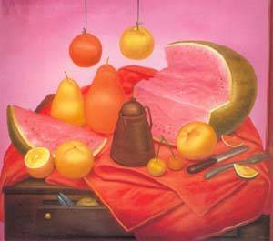 Still Life With Watermelon 1976 | Fernando Botero | oil painting