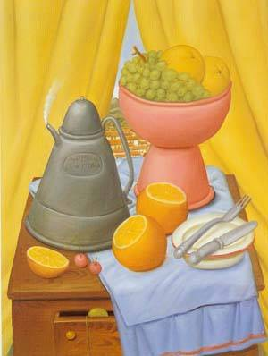 Still Life With Coffee Pot 1985 | Fernando Botero | oil painting