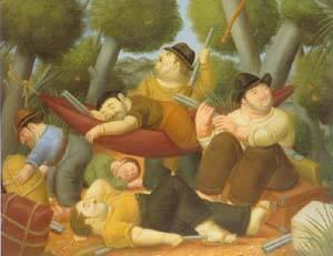 Guerillas 1988 | Fernando Botero | oil painting