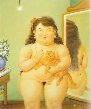 Woman With A Cat 1995 | Fernando Botero | oil painting