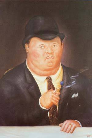 Man Smoking 1973 | Fernando Botero | oil painting