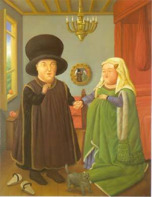 The Arnolfini After Van Eyck 1997 | Fernando Botero | oil painting