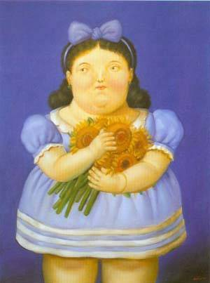 Girl With Flowers 1995 | Fernando Botero | oil painting