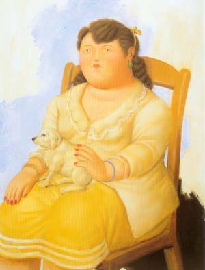 Woman With Dog 1996 | Fernando Botero | oil painting
