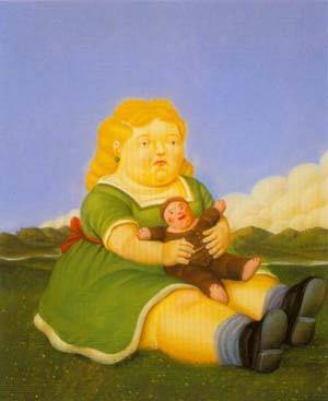 Girl With Puppet 1996 | Fernando Botero | oil painting