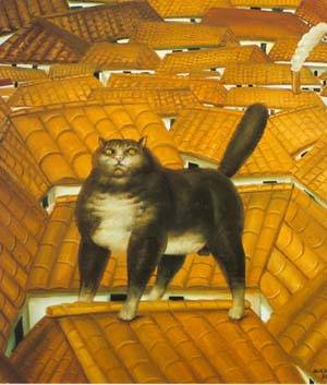 Cat On A Roof 1978 | Fernando Botero | oil painting