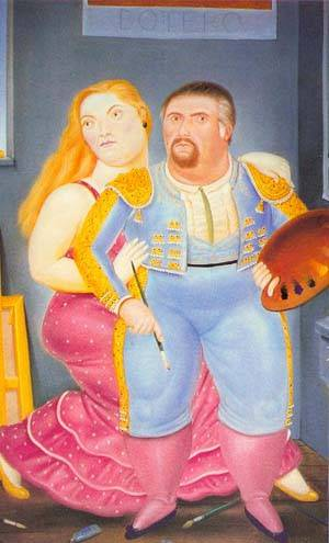 Self-Portrait With Sofia 1986 | Fernando Botero | oil painting