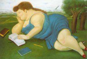 Woman With A Book 1987 | Fernando Botero | oil painting
