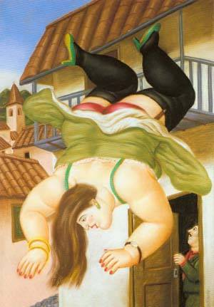 Woman Falling From A Balcony 1994 | Fernando Botero | oil painting