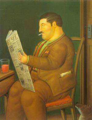Man Reading A Paper 1996 | Fernando Botero | oil painting