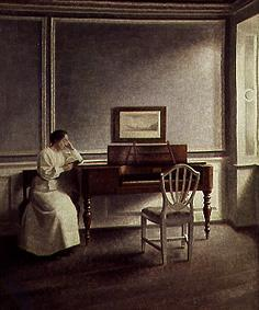 Woman Reading a Book Next to a Piano | Vilhelm Hammershoi | oil painting