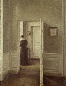 Woman in a Bright Interior | Vilhelm Hammershoi | oil painting