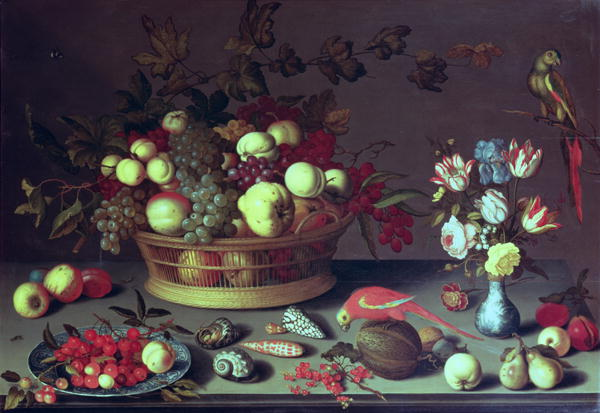 A basket of Grapes and other fruit | Balthasar van der Ast | oil painting