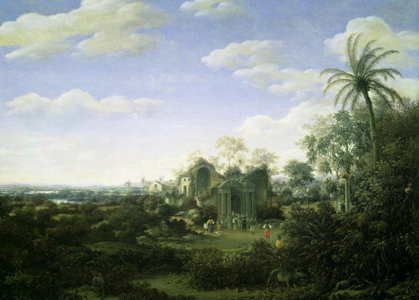 A Brazilian Landscape with a Procession Emerging from the Ruined Cathedral of the See of Olinda Capital of the district of Perambue   Frans Jansz Post   oil painting