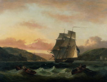 A Brigantine in Full Sail in Dartmouth Harbour | Thomas Luny | oil painting