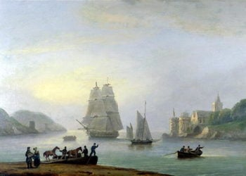 A Brig Entering Dartmouth Harbour with a Ferry in the Foreground 1828 | Thomas Luny | oil painting