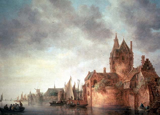 A castle by a river with shipping at a quay 1642 | Jan Josephsz van Goyen | oil painting