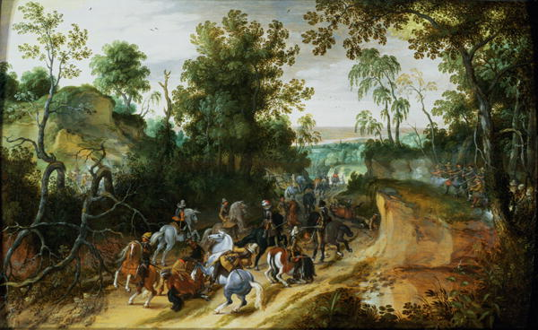 A Cavalry Column Ambushed on a Woodland path | Sebastian Vrancx | oil painting