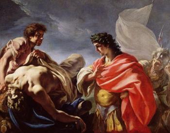 Achilles Contemplating the Body of Patroclug | Giovanni Antonio Pellegrini | oil painting