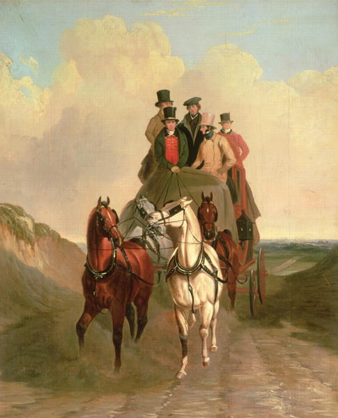 A Coach and Four on an Open Road | William Snr Shayer | oil painting