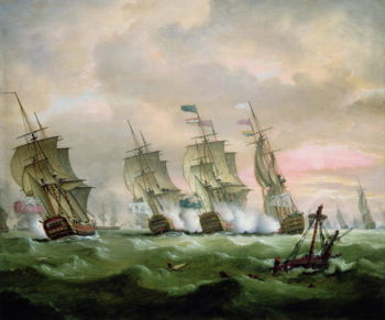 Admiral Sir Edward Hawke defeating Admiral M de Conflans in the Bay of Biscay | Thomas Luny | oil painting