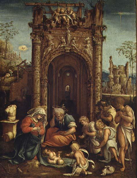 Adoration of the Shepherds 1530 | Amico Aspertini | oil painting