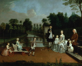 A Family Group on a Terrace in a Garden 1749 | Arthur Devis | oil painting