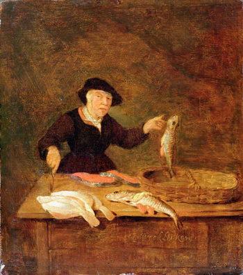 A Fishmonger 1667 | Quiringh Gerritsz van Brekelenkam | oil painting