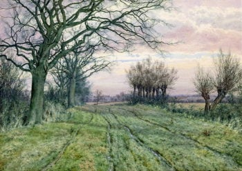 A Fenland Lane with Pollarded Willows 1887 | William Fraser Garden | oil painting