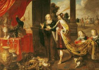 Ahasuerus Showing his Treasure to Mordecai | Claude Vignon | oil painting