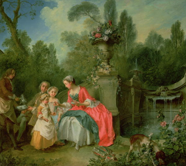 A lady and a gentleman in the Garden with two children 1742 | Nicolas Lancret | oil painting