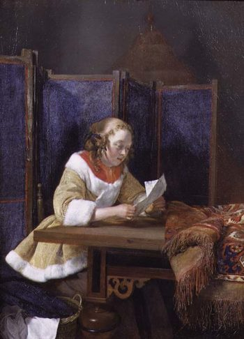 A Lady Reading a Letter early 1660s | Gerard ter Borch or Terborch | oil painting