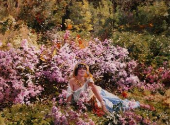 Algerian beauty in a lilac field | Leon Louis Tanzi | oil painting