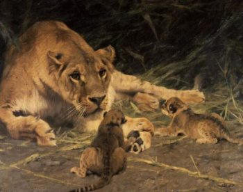 A Lioness and Her Cubs | Wilhelm Kuhnert | oil painting